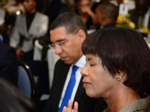 Prime Minister Andrew Holness and Opposition Leader Portia Simpson Miller at the National Prayer Breakfast this morning. Many Jamaicans no longer see the value in this annual exercise, which began in Jamaica in 1981. (Photo: Patrick Planter/Gleaner)
