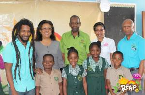 On January 24, LASCO REAP moved on to St. Jago Cathedral Preparatory School. Here is Stephen Newland (far left); School Principal Andrea Baugh; Member of Parliament J.C. Hutchinson, a representative of LASCO and Colin Newland of the 4-H Clubs. (Photo: Lasco REAP)