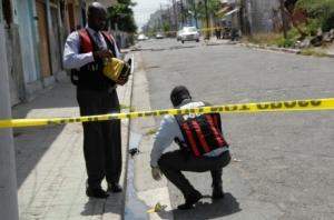 Police at a crime scene.