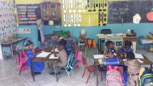 Busy children at St. Margaret's Basic School.