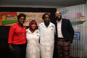 JN Foundation's Renee Rattray with dancehall ambassadors for Science Genius, Tifa and Wayne Marshall, with Dr. Chris Emdin in awesome plaid pants. (Photo: JN Foundation)