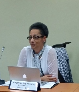 Commissioner Margarette May Macaulay at the IACHR consultations on March 3, 2017. (My photo)