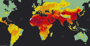 The WHO's global map of air pollution. Based on this, one is tempted to go and live in Australia!