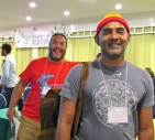 Photo bombs can be pretty surprising. I was taking a nice picture of Lester Doodnath at the BirdsCaribbean International Conference in July 2015 when Mark Yokoyama popped up behind him! Lester is from Trinidad and Mark from St. Martin.