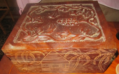 One of my treasured items is this carved wooden box by the highly creative carpenter, Mr. Gilbert Nicely. He inherits a tradition of Jamaican carpentry, with his own wonderful twist.