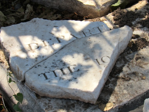 Fragment of a tombstone at Elletson Road cemetery in Kingston. (My photo)