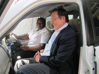 Friends are generous and kind. UNICEF Jamaica donated a bus to Eve for Life Jamaica back in 2013, and we were so grateful. Here is Eve's Executive Director Patricia Watson at the wheel, and then head of UNICEF Jamaica Rob Fuderich ready to go for a ride. (My photo)