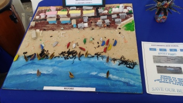 "Students of Westwood High School also got out their glue pots for this amazing model of Burwood Beach in the ""Big Up Wi Beach"" competition organised by Jamaica Environment Trust. (My photo)"