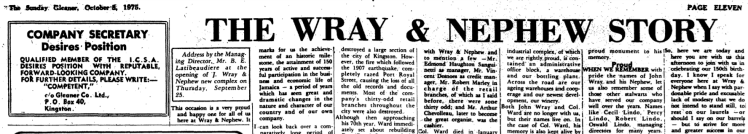 Wray and Nephew Story - Gleaner 5-10-1975