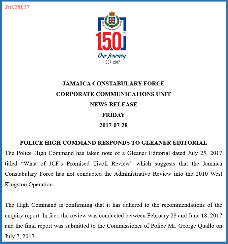 JCF release re admin reviews - 28-7-17 a