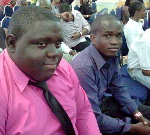 """These two young men, at a tech startup competition in Kingston, were waiting to make their """"pitch."""""""