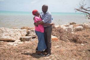 A much-needed hug in Barbuda. (Photo: Observer Media Group)