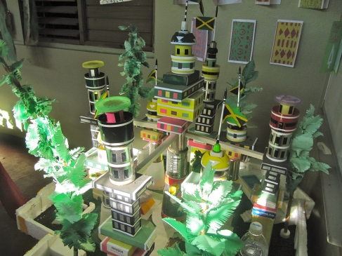 Creative layering... an inspired cityscape made by the children of the Trench Town Reading Centre.
