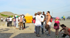 """When you arrive early for an event (especially in Jamaica) you have to be prepared to wait. These """"early birds"""" at last year's International Coastal Cleanup Day had the luxury of a pleasant chat, before the hard work began."""