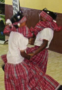 Another children's picture - layers of bandana cloth as girls perform a folk dance.
