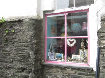 In a little Cornish town, a quaint window display for one of the gift shops that cater for tourists.