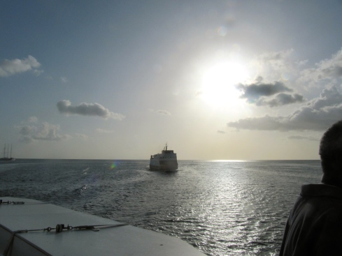 Leaving on the ferry boat from Carriacou to Grenada, there was a silver glow in the sky and sea.