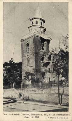 Kingston Parish Church after 1907 earthquake - National Library of Jamaica Collection