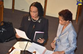 Donna Scott-Mottley is sworn in as Opposition Senator. She will also be the Leader of Opposition Business in the Upper House. (Photo: JIS)