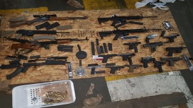 The guns seized at the Kingston Freeport Terminal in October, 2017.