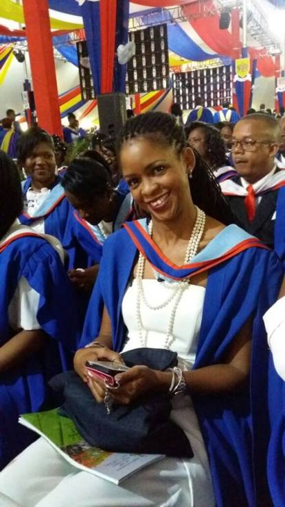 Yolande Gyles Levy basking in the glow of achieving her M.A. with Distinction at the University of the West Indies graduation ceremony.
