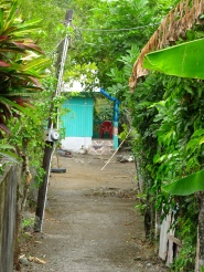 Here's my camera, taking a peek down a little path somewhere in St. Thomas... at a small house painted the colour of the sea on a clear day.