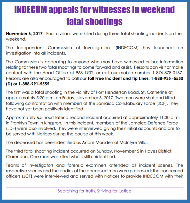 INDECOM Nov 6 2017 release a