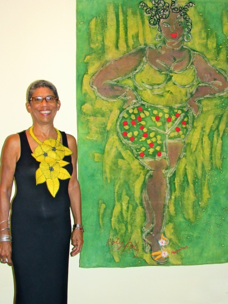 """Art can be cheeky, too! Here is textile artist Margaret Stanley next to her creation, """"Roly Poly."""" (My photo)"""
