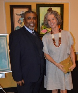 JN Bank Donates to FFP: Fiona Godfrey (right), founder of Young At Art, an art education programme whose artists were the contributors to the beautiful 2018 Food For The Poor Calendar, smiles with Leon Mitchell (left), Chief Marketing and Sales Manager of Jamaica National, who donated $500,000 to FFP from the Jamaica National Bank at Friends of Food For The Poor Jamaica's 2018 Calendar Launch and Auction at the Terra Nova Hotel on Thursday, November 30, 2017. Food For The Poor held the 2018 Calendar Launch in partnership with Young At Art. All proceeds from the event will benefit the Savanna-la-Mar Hospital.