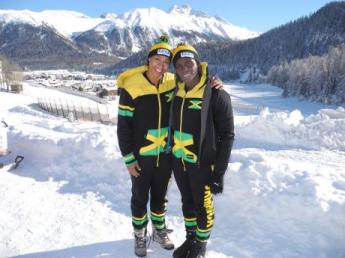 Pilot Jazmine Fenlator-Victorian (left) and brakewoman Carrie Russell, of the Jamaica Women's bobsled team. (Photo: Gleaner)
