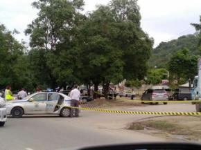 The scene of a shooting in Montego Bay, near the international airport.