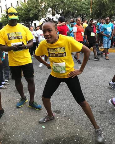 Kingston Book Festival getting warmed up for the Sagicor Sigma Corporate Run. (Photo: Facebook)