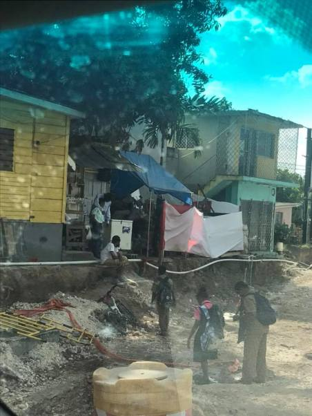 The chaos and disruption to homes and businesses in Barbican, Kingston is quite unbelievable. These homes are teetering on the edge. (Photo: Facebook)