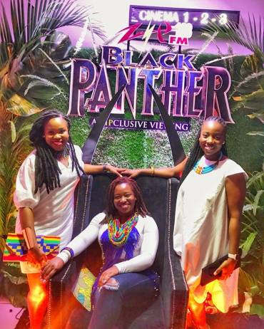 Three gorgeous Jamaican women at the Black Panther film show. (Photo: Facebook)