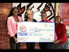 Burger King donated J$1 million to the Walker's Place of Safety.