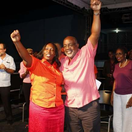 """Opposition Leader Peter Phillips tweeted: """"Let's #HayleTheWoman! Keisha Hayle will be a passionate and effective representative of the people. Let's do the political work, house to house, to show the constituents the leader that she is! It's time to rebuild PNP organization in NW St. Andrew"""" #Renewal #Rebuild #TeamPNP Here she is with Fitz Jackson."""