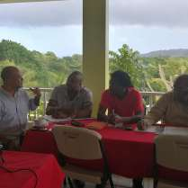 """Opposition Leader Peter Phillips tweeted photos from his Shadow Cabinet Retreat... discussing Water, Community Development and Social Transformation, Local Government and Health. """"We're focused on creative and practical solutions, and grounded in our values,"""" he shared."""
