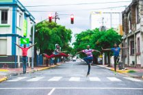 The National Dance Theatre Company posted this terrific photo of four of its male dancers, against a downtown Kingston backdrop. Love it!