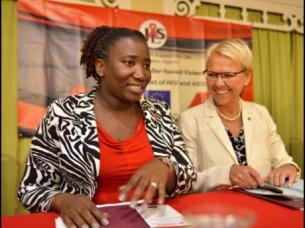 Head of the Delegation of the European Union (EU) to Jamaica, Ambassador Malgorzata Wasilewska (right), and Executive Director of Jamaica AIDS Support for Life (JASL), Kandasi Levermore, at a function to launch an EU-sponsored project on 'Reducing Domestic Sexual and Gender-based violence Against Women within the context of HIV and AIDS'. (Photo: Gleaner)