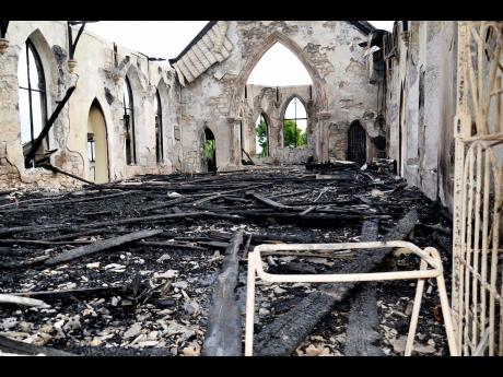 The historic St. Ann's Bay Methodist Church after the fire. (Photo: Gleaner)
