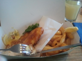 Eating fish and chips in a seaside town in Cornwall...