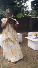Jo-Ann Richards read from the Patois Bible.