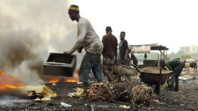 An e-waste dump in Ghana. What are we doing with our e-waste - burning it?