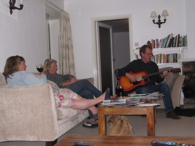 Hanging out with family while my brother plays guitar...