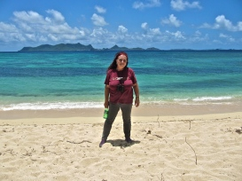 Standing on a hot beach in the Grenadines...