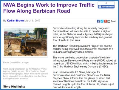 JIS March 2017 release re Barbican roadworks