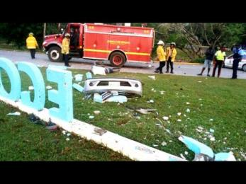 Not so welcome now: The aftermath of a terrible crash that killed two young men just outside the airport in Montego Bay.