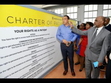 Health Minister Christopher Tufton (in blue shirt) at the launch of the Charter of Patients' Rights and the Compassionate Care Programme at the Victoria Jubilee Hospital in Kingston. (Photo: Gleaner)