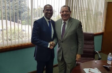 Finance Minister Dr. Nigel Clarke (left) and newly shuffled Minister of Industry Audley Shaw looking jolly, last week. (Photo: Twitter)