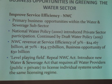 Opportunities in the Green Economy for Jamaica a: a slide at the launch of the Green Economy Scoping Study on World Water Day, March 2016.